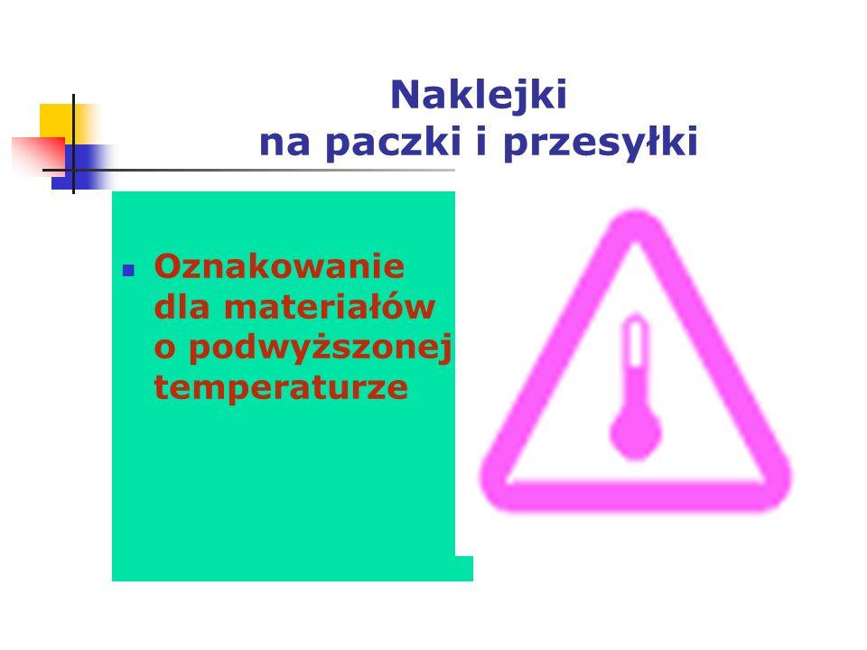 Naklejki na paczki i przesyłki Oznakowanie dla materiałów o podwyższonej temperaturze