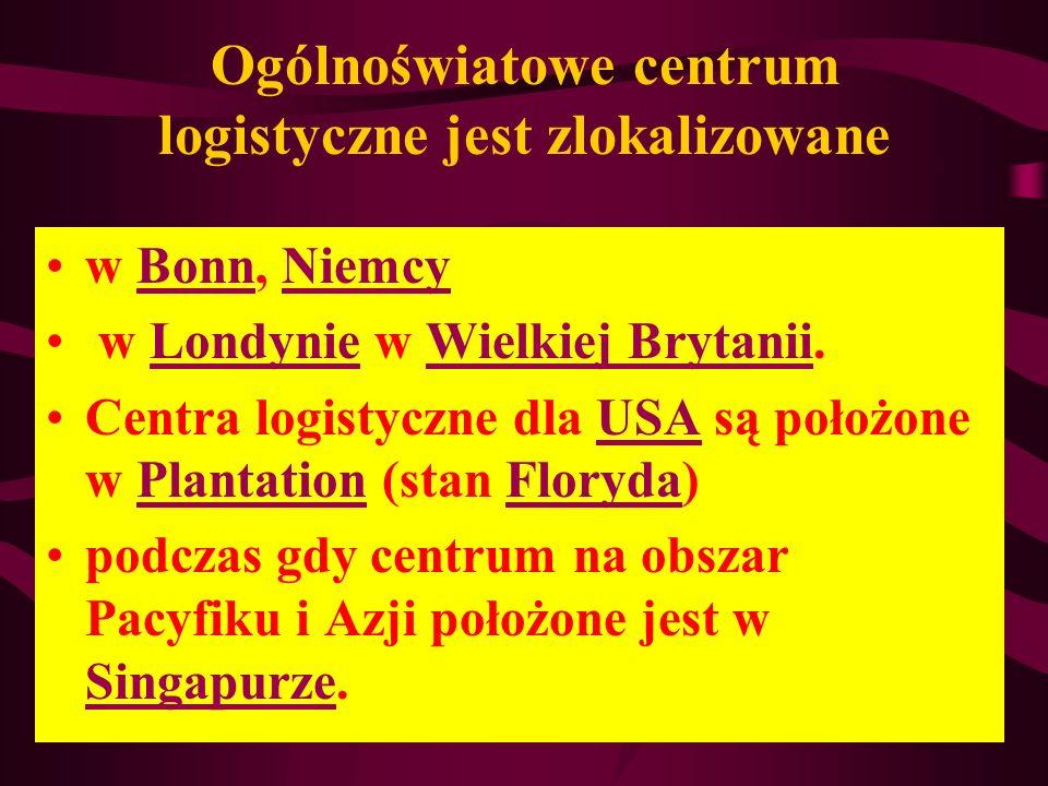 Ogólnoświatowe centrum logistyczne jest zlokalizowane w Bonn, NiemcyBonnNiemcy w Londynie w Wielkiej Brytanii.LondynieWielkiej Brytanii Centra logistyczne dla USA są położone w Plantation (stan Floryda)USAPlantationFloryda podczas gdy centrum na obszar Pacyfiku i Azji położone jest w Singapurze.