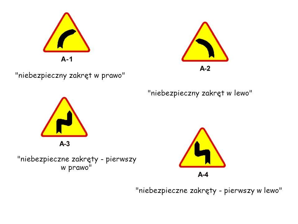 niebezpieczne zakręty – pierwszy w prawo wlot drogi jednokierunkowej z lewej strony