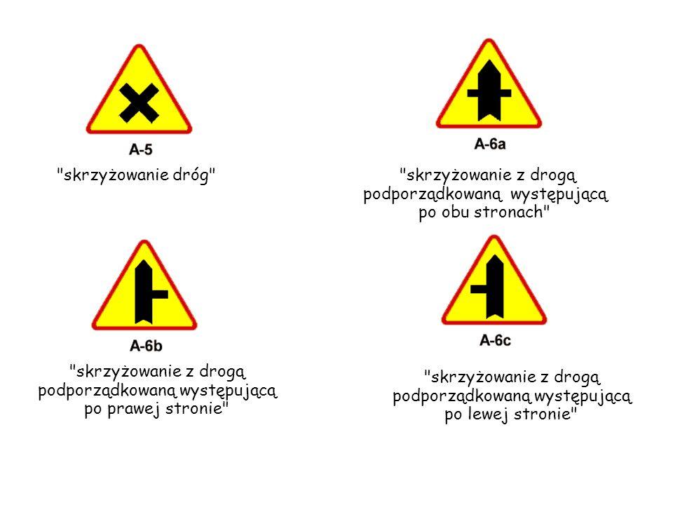 wlot drogi jednokierunkowej z prawej strony wlot drogi jednokierunkowej z lewej strony ustąp pierwszeństwa Znak A-7 ustąp pierwszeństwa ostrzega o skrzyżowaniu z drogą z pierwszeństwem.