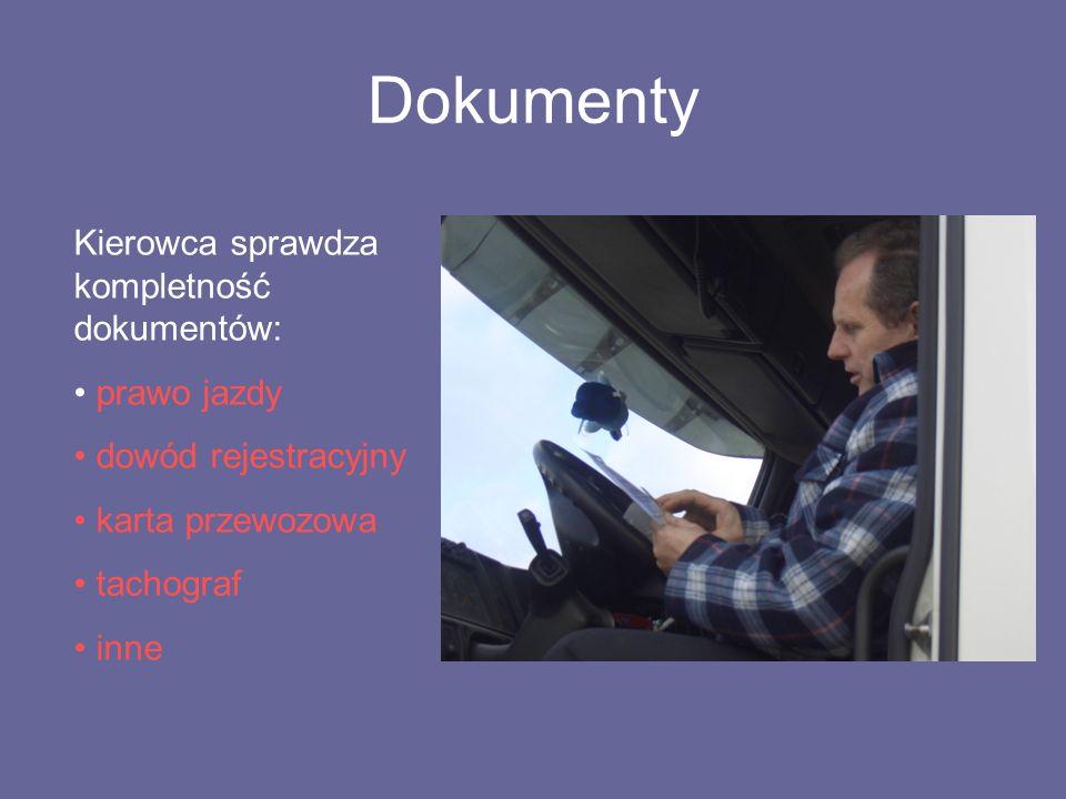 Dokumenty Kierowca sprawdza kompletność dokumentów: prawo jazdy dowód rejestracyjny karta przewozowa tachograf inne
