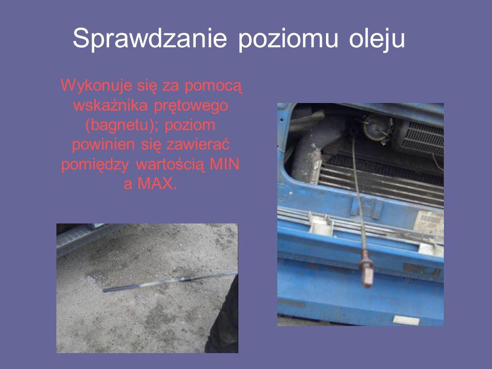 Sprawdzanie poziomu oleju Wykonuje się za pomocą wskaźnika prętowego (bagnetu); poziom powinien się zawierać pomiędzy wartością MIN a MAX.