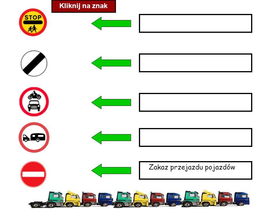 Zakaz przejazdu pojazdów Kliknij na znak