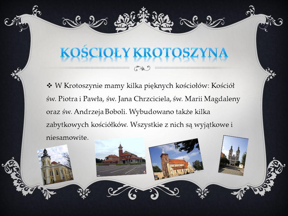 W Krotoszynie mamy kilka pięknych kościołów: Kościół św. Piotra i Pawła, św. Jana Chrzciciela, św. Marii Magdaleny oraz św. Andrzeja Boboli. Wybudowan