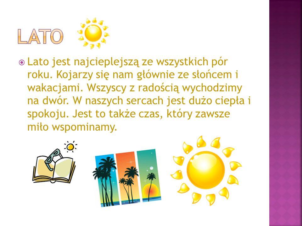 Lato jest najcieplejszą ze wszystkich pór roku. Kojarzy się nam głównie ze słońcem i wakacjami. Wszyscy z radością wychodzimy na dwór. W naszych serca