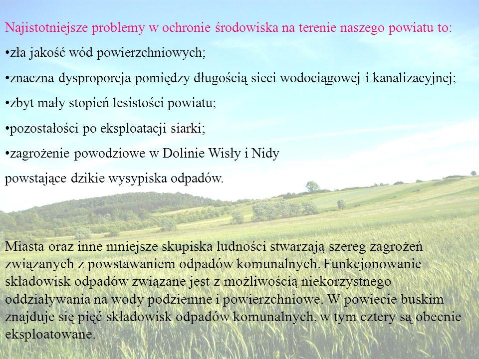 Najistotniejsze problemy w ochronie środowiska na terenie naszego powiatu to: zła jakość wód powierzchniowych; znaczna dysproporcja pomiędzy długością