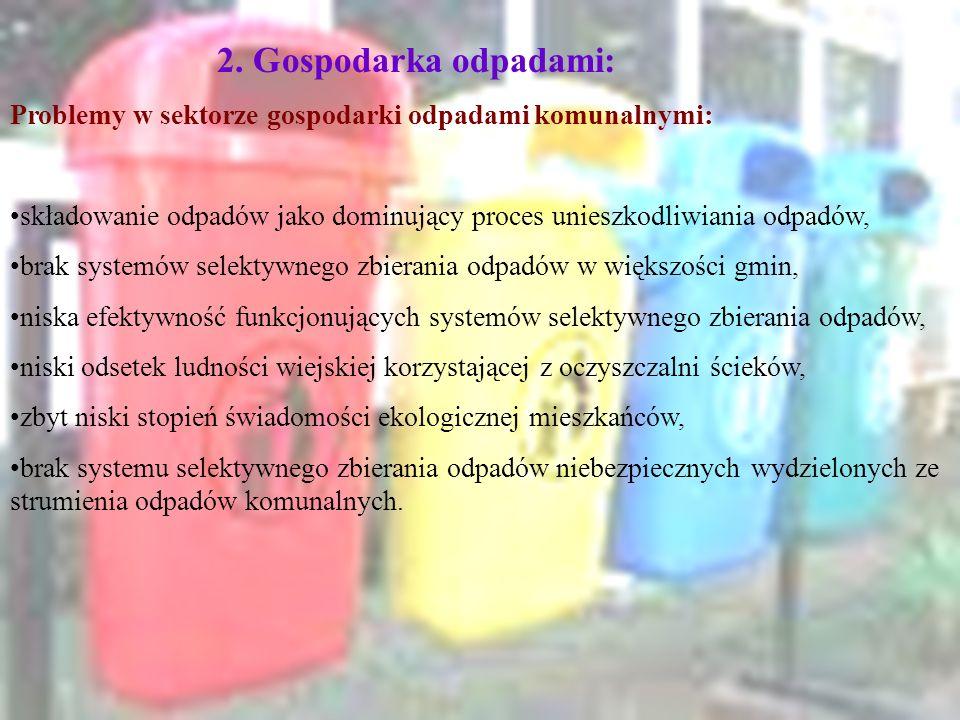 2. Gospodarka odpadami: Problemy w sektorze gospodarki odpadami komunalnymi: składowanie odpadów jako dominujący proces unieszkodliwiania odpadów, bra