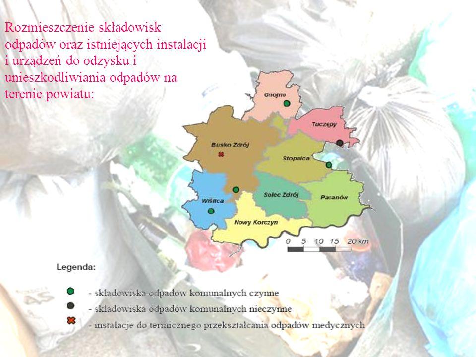 Rozmieszczenie składowisk odpadów oraz istniejących instalacji i urządzeń do odzysku i unieszkodliwiania odpadów na terenie powiatu: