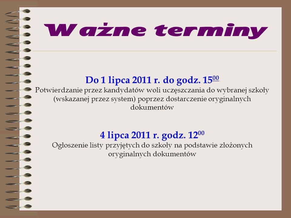 Ważne terminy od 4 maja 2011 r.do 17 czerwca 2011 r.