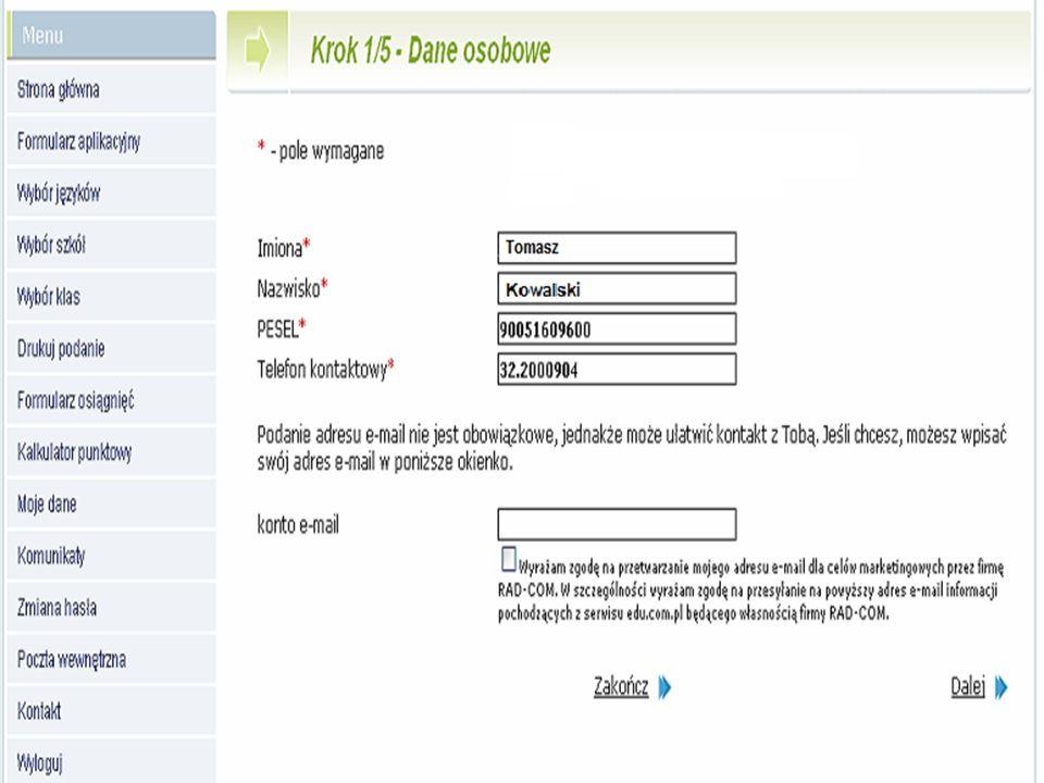 Etap 1 Sprawdzenie danych na koncie, wybór szkół i oddziałów Wersja dla kandydatów do szkół ponadgimnazjalnych, dla których konto w systemie zakłada gimnazjum Krok 1/5 Sprawdzenie podstawowych danych osobowych Etapy działania