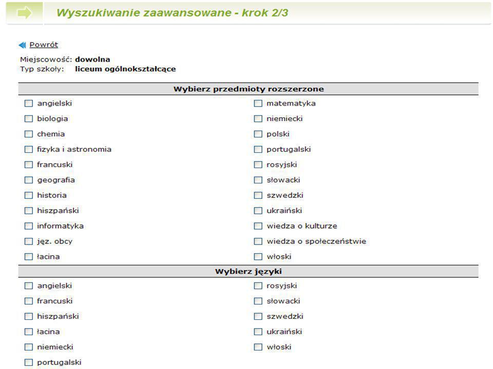Krok 2 Zaznacz przedmioty oraz języki, które Cię interesują