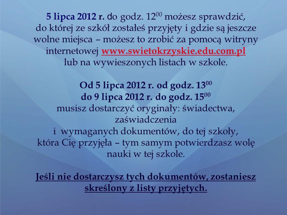 UWAGA Listy wolnych miejsc zostaną też Wywieszone we wszystkich szkołach ponadgimnazjalnych W szkołach dysponujących wolnymi miejscami dodatkowe postępowanie rekrutacyjno – kwalifikacyjne będzie się odbywało do 12 lipca 2012 r.