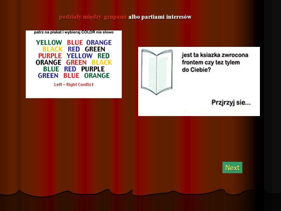 podziały między grupami albo partiami interesów Next