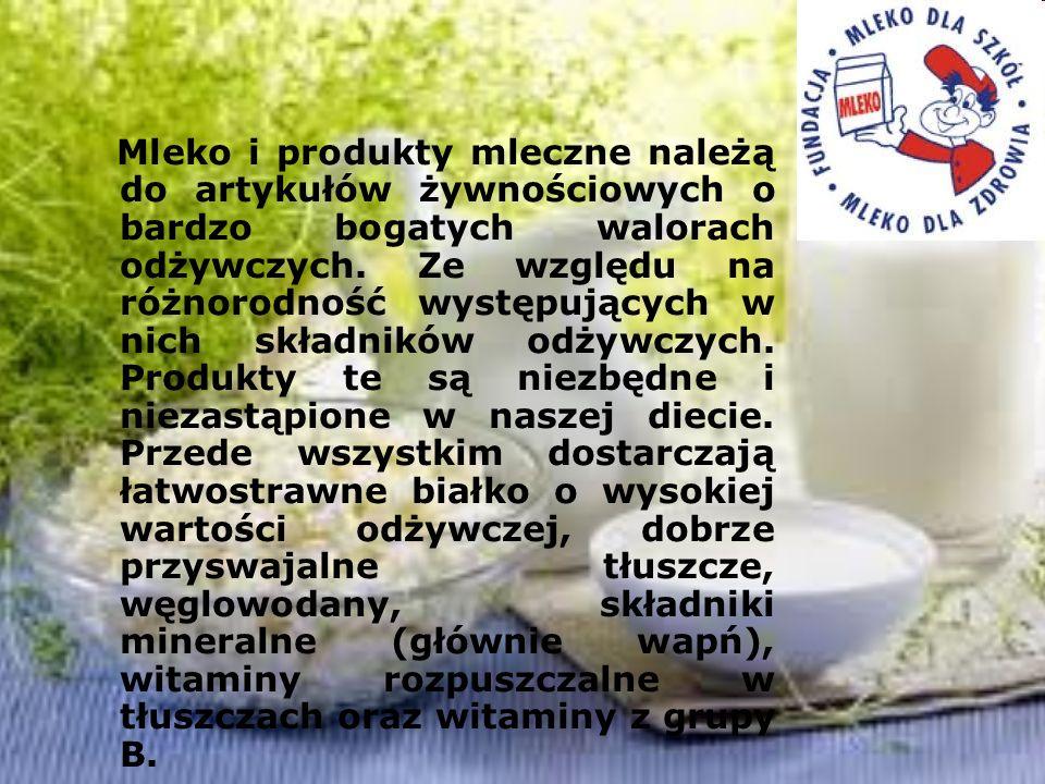 Mleko i produkty mleczne należą do artykułów żywnościowych o bardzo bogatych walorach odżywczych. Ze względu na różnorodność występujących w nich skła