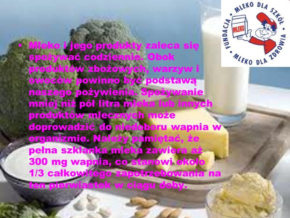 Mleko i jego produkty zaleca się spożywać codziennie. Obok produktów zbożowych, warzyw i owoców powinno być podstawą naszego pożywienia. Spożywanie mn