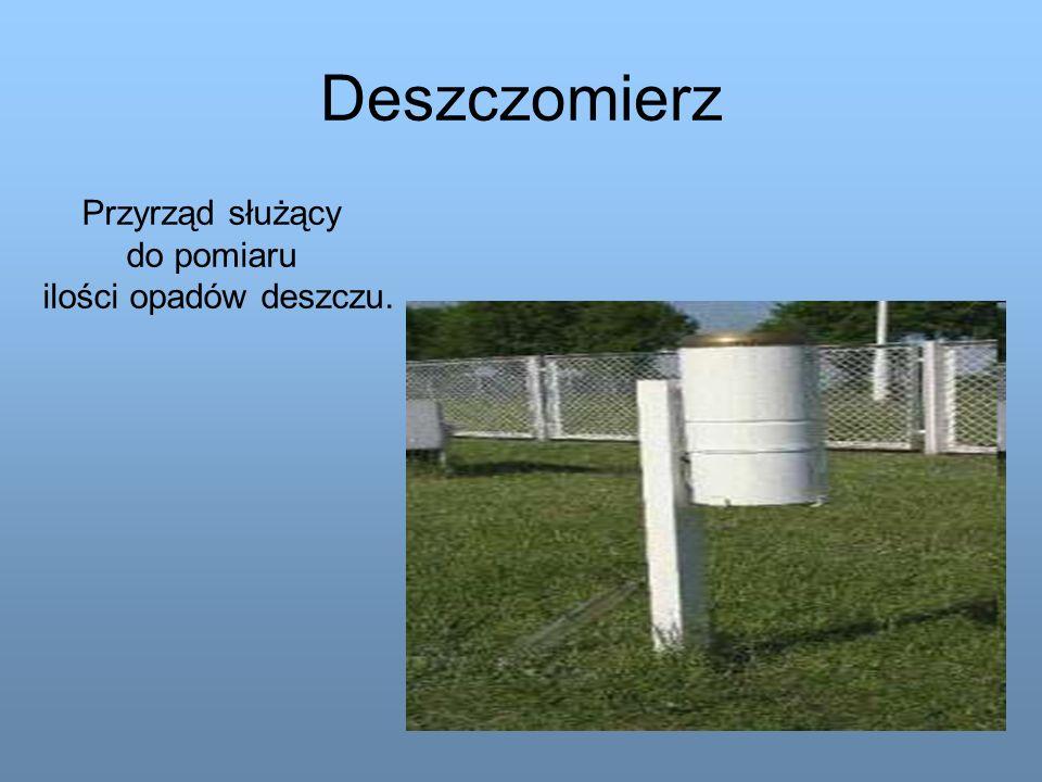 Deszczomierz Przyrząd służący do pomiaru ilości opadów deszczu.