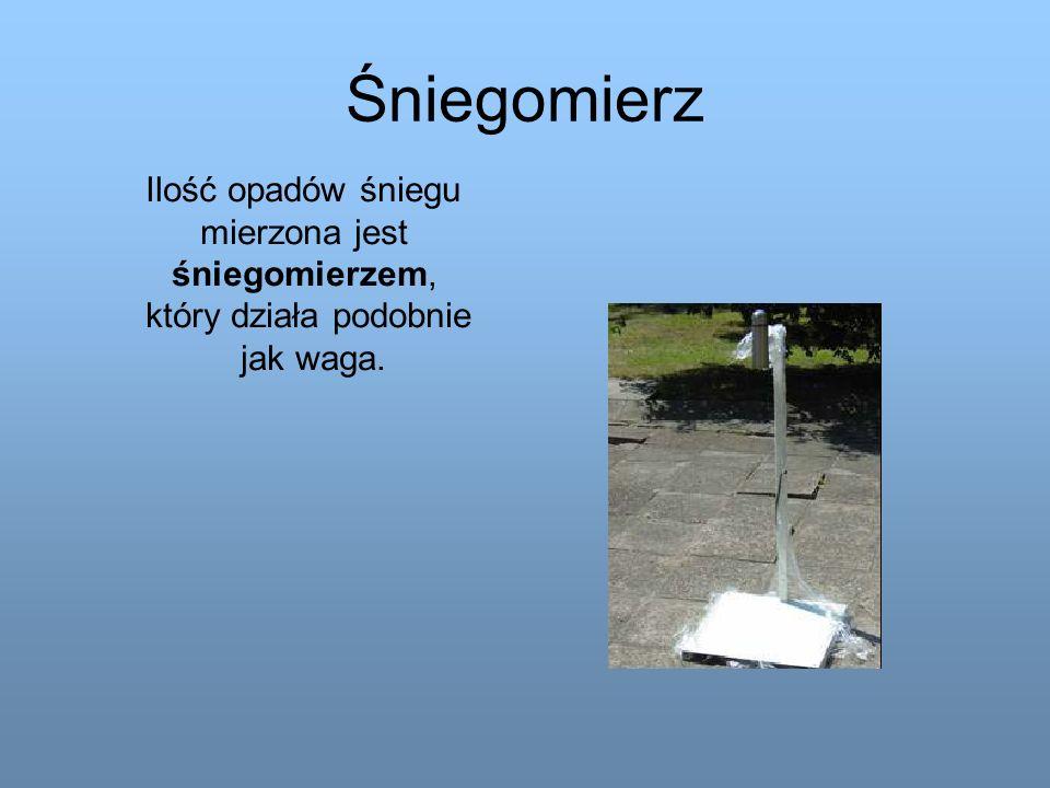 Śniegomierz Ilość opadów śniegu mierzona jest śniegomierzem, który działa podobnie jak waga.