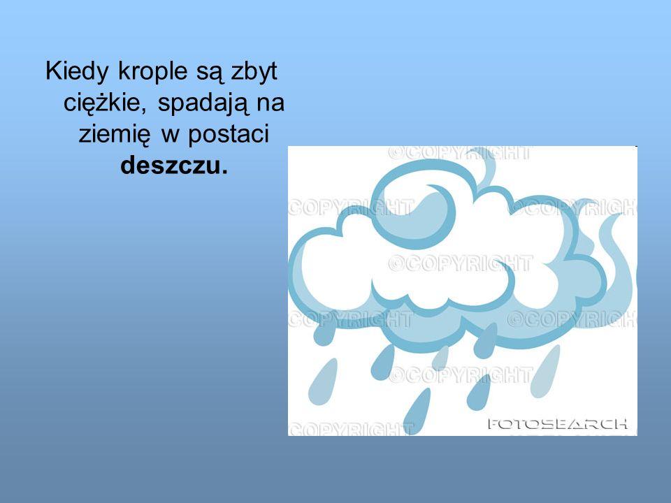 Kiedy krople są zbyt ciężkie, spadają na ziemię w postaci deszczu.