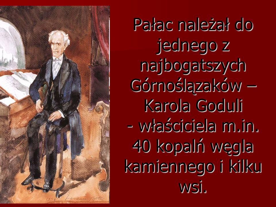 Pałac należał do jednego z najbogatszych Górnoślązaków – Karola Goduli - właściciela m.in. 40 kopalń węgla kamiennego i kilku wsi.