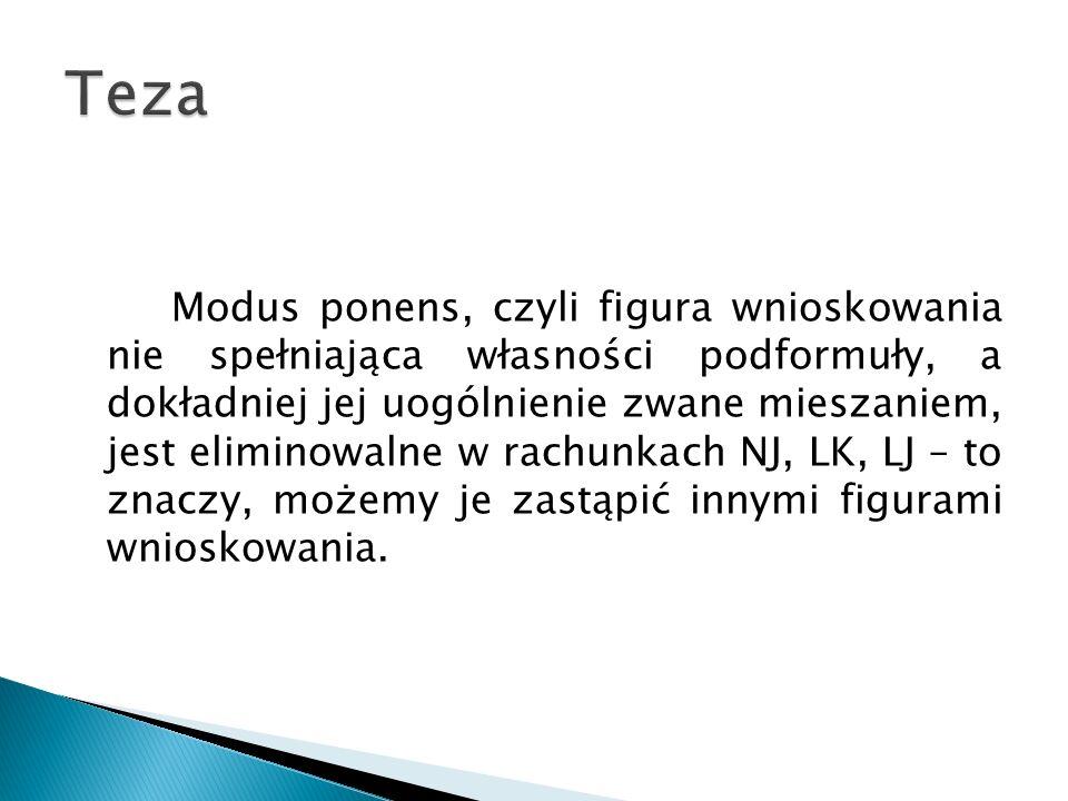 Modus ponens, czyli figura wnioskowania nie spełniająca własności podformuły, a dokładniej jej uogólnienie zwane mieszaniem, jest eliminowalne w rachu