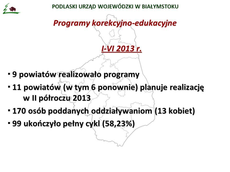 PODLASKI URZĄD WOJEWÓDZKI W BIAŁYMSTOKU Programy korekcyjno-edukacyjne I-VI 2013 r.