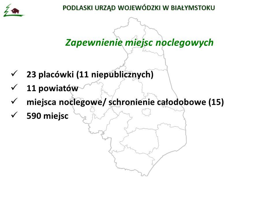 Zapewnienie miejsc noclegowych 23 placówki (11 niepublicznych) 11 powiatów miejsca noclegowe/ schronienie całodobowe (15) 590 miejsc