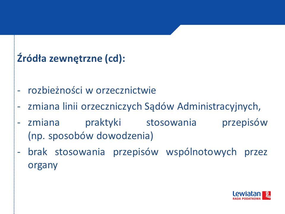 Źródła zewnętrzne (cd): -rozbieżności w orzecznictwie -zmiana linii orzeczniczych Sądów Administracyjnych, -zmiana praktyki stosowania przepisów (np.