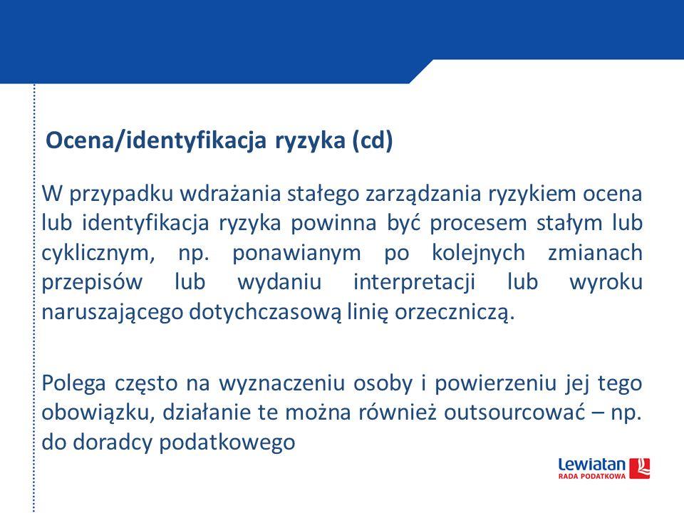 Ocena/identyfikacja ryzyka (cd) W przypadku wdrażania stałego zarządzania ryzykiem ocena lub identyfikacja ryzyka powinna być procesem stałym lub cykl