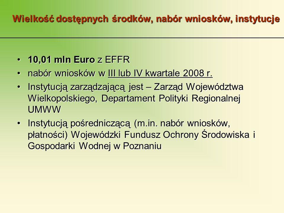 Wielkość dostępnych środków, nabór wniosków, instytucje 10,01 mln Euro z EFFR10,01 mln Euro z EFFR nabór wniosków w III lub IV kwartale 2008 r.nabór wniosków w III lub IV kwartale 2008 r.