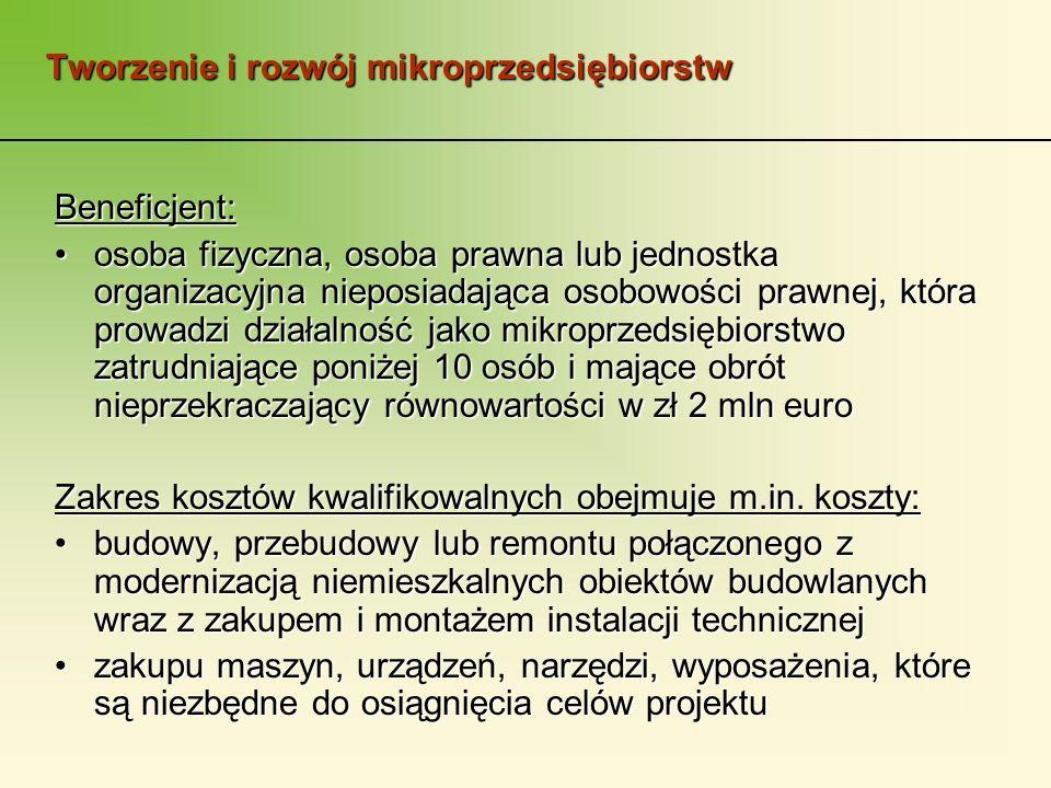 Tworzenie i rozwój mikroprzedsiębiorstw Beneficjent: osoba fizyczna, osoba prawna lub jednostka organizacyjna nieposiadająca osobowości prawnej, która prowadzi działalność jako mikroprzedsiębiorstwo zatrudniające poniżej 10 osób i mające obrót nieprzekraczający równowartości w zł 2 mln euroosoba fizyczna, osoba prawna lub jednostka organizacyjna nieposiadająca osobowości prawnej, która prowadzi działalność jako mikroprzedsiębiorstwo zatrudniające poniżej 10 osób i mające obrót nieprzekraczający równowartości w zł 2 mln euro Zakres kosztów kwalifikowalnych obejmuje m.in.