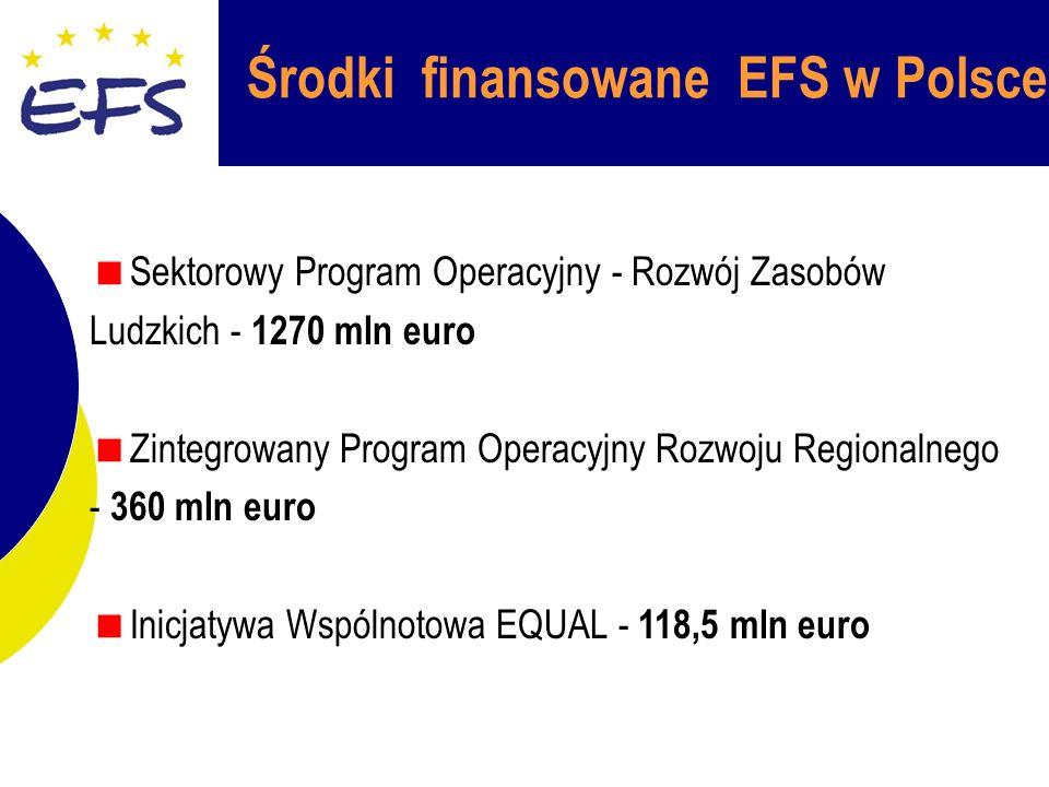 Środki finansowane EFS w Polsce Sektorowy Program Operacyjny - Rozwój Zasobów Ludzkich - 1270 mln euro Zintegrowany Program Operacyjny Rozwoju Regionalnego - 360 mln euro Inicjatywa Wspólnotowa EQUAL - 118,5 mln euro