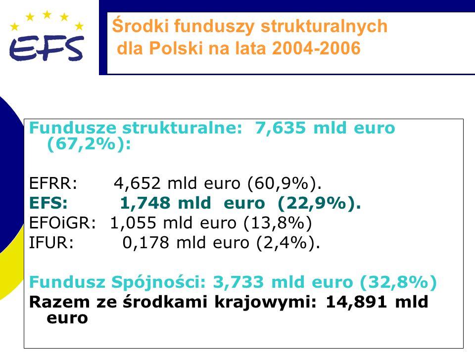 Środki funduszy strukturalnych dla Polski na lata 2004-2006 Fundusze strukturalne: 7,635 mld euro (67,2%): EFRR: 4,652 mld euro (60,9%).
