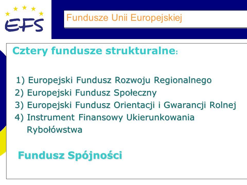 Fundusze Unii Europejskiej Cztery fundusze strukturalne : 1) Europejski Fundusz Rozwoju Regionalnego 1) Europejski Fundusz Rozwoju Regionalnego 2) Europejski Fundusz Społeczny 2) Europejski Fundusz Społeczny 3) Europejski Fundusz Orientacji i Gwarancji Rolnej 3) Europejski Fundusz Orientacji i Gwarancji Rolnej 4) Instrument Finansowy Ukierunkowania 4) Instrument Finansowy Ukierunkowania Rybołówstwa Rybołówstwa Fundusz Spójności Fundusz Spójności