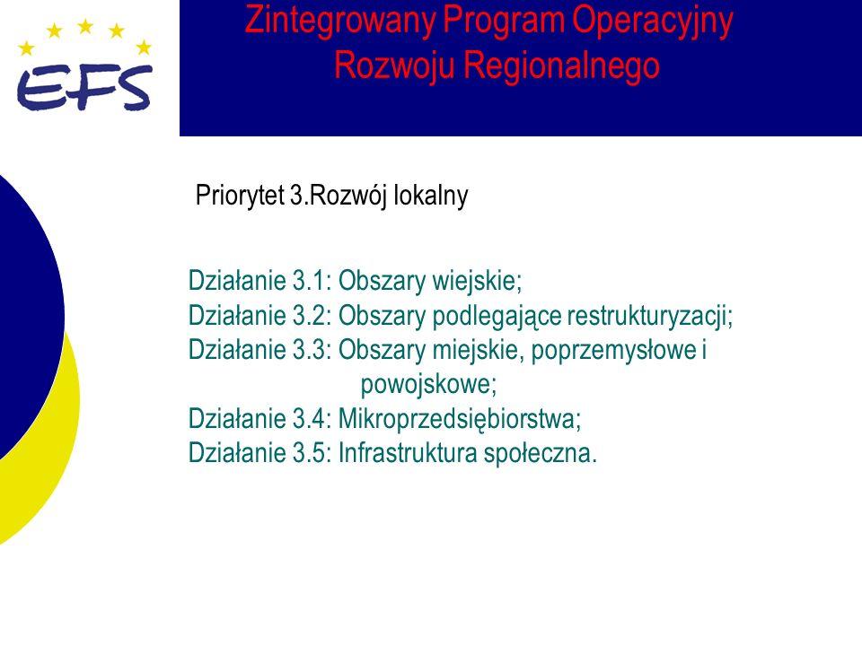 Zintegrowany Program Operacyjny Rozwoju Regionalnego Działanie 3.1: Obszary wiejskie; Działanie 3.2: Obszary podlegające restrukturyzacji; Działanie 3.3: Obszary miejskie, poprzemysłowe i powojskowe; Działanie 3.4: Mikroprzedsiębiorstwa; Działanie 3.5: Infrastruktura społeczna.