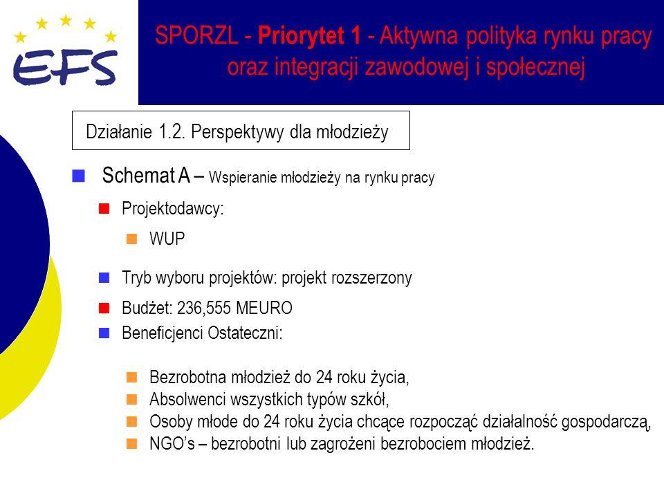 SPORZL - Priorytet 1 - Aktywna polityka rynku pracy oraz integracji zawodowej i społecznej Działanie 1.2.