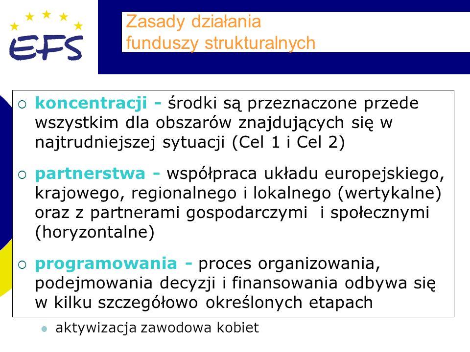 Zasady działania funduszy strukturalnych koncentracji - środki są przeznaczone przede wszystkim dla obszarów znajdujących się w najtrudniejszej sytuacji (Cel 1 i Cel 2) partnerstwa - współpraca układu europejskiego, krajowego, regionalnego i lokalnego (wertykalne) oraz z partnerami gospodarczymi i społecznymi (horyzontalne) programowania - proces organizowania, podejmowania decyzji i finansowania odbywa się w kilku szczegółowo określonych etapach aktywizacja zawodowa kobiet