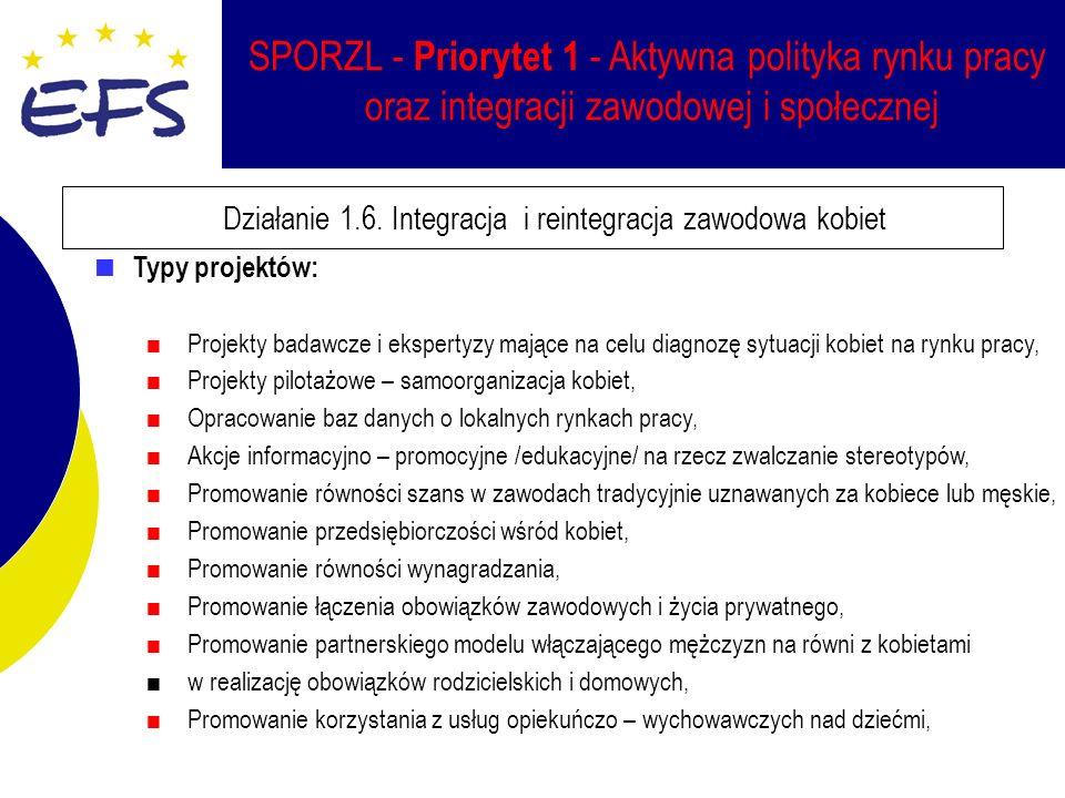 SPORZL - Priorytet 1 - Aktywna polityka rynku pracy oraz integracji zawodowej i społecznej Działanie 1.6.