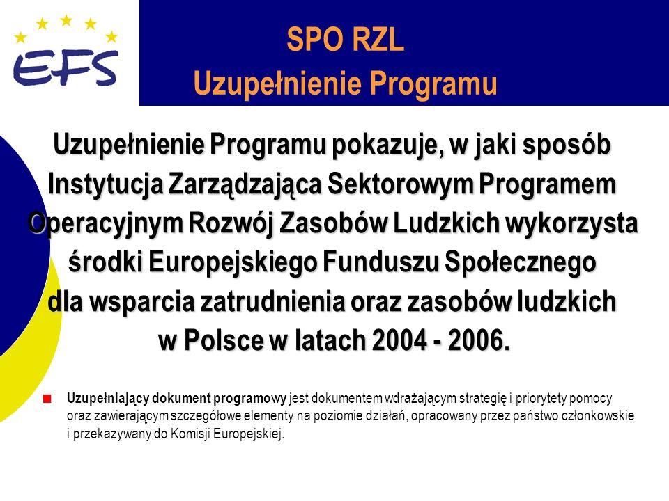 SPO RZL Uzupełnienie Programu Uzupełnienie Programu pokazuje, w jaki sposób Instytucja Zarządzająca Sektorowym Programem Operacyjnym Rozwój Zasobów Ludzkich wykorzysta środki Europejskiego Funduszu Społecznego dla wsparcia zatrudnienia oraz zasobów ludzkich w Polsce w latach 2004 - 2006.