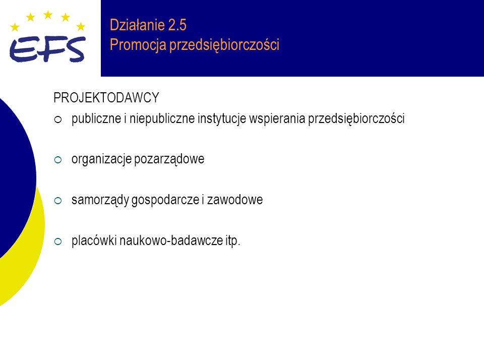 Działanie 2.5 Promocja przedsiębiorczości PROJEKTODAWCY publiczne i niepubliczne instytucje wspierania przedsiębiorczości organizacje pozarządowe samorządy gospodarcze i zawodowe placówki naukowo-badawcze itp.