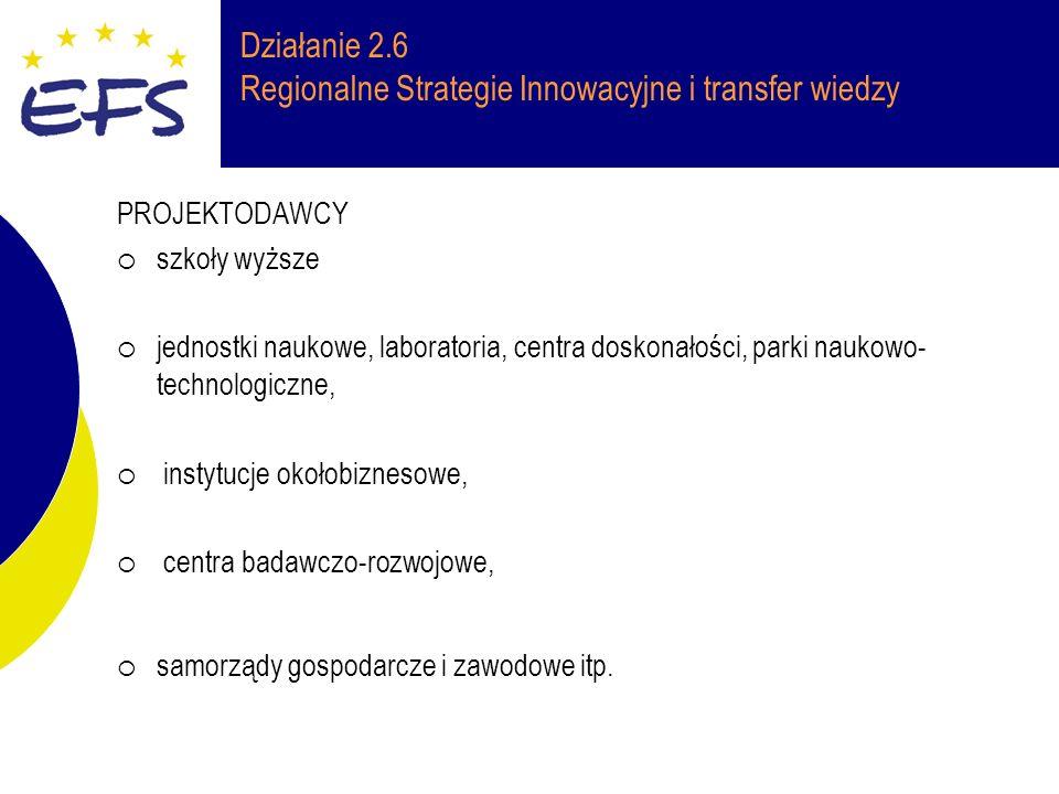 Działanie 2.6 Regionalne Strategie Innowacyjne i transfer wiedzy PROJEKTODAWCY szkoły wyższe jednostki naukowe, laboratoria, centra doskonałości, parki naukowo- technologiczne, instytucje okołobiznesowe, centra badawczo-rozwojowe, samorządy gospodarcze i zawodowe itp.