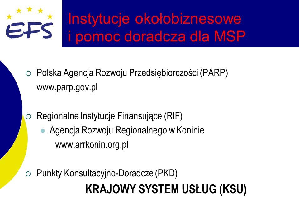Polska Agencja Rozwoju Przedsiębiorczości (PARP) www.parp.gov.pl Regionalne Instytucje Finansujące (RIF) Agencja Rozwoju Regionalnego w Koninie www.arrkonin.org.pl Punkty Konsultacyjno-Doradcze (PKD) KRAJOWY SYSTEM USŁUG (KSU)