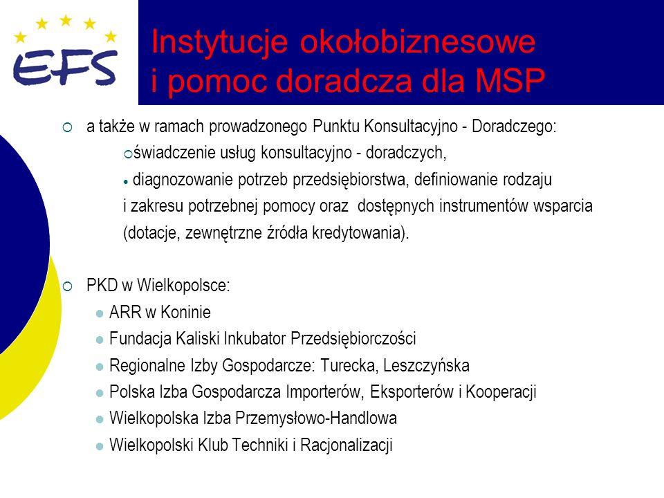 Instytucje okołobiznesowe i pomoc doradcza dla MSP a także w ramach prowadzonego Punktu Konsultacyjno - Doradczego: świadczenie usług konsultacyjno - doradczych, diagnozowanie potrzeb przedsiębiorstwa, definiowanie rodzaju i zakresu potrzebnej pomocy oraz dostępnych instrumentów wsparcia (dotacje, zewnętrzne źródła kredytowania).