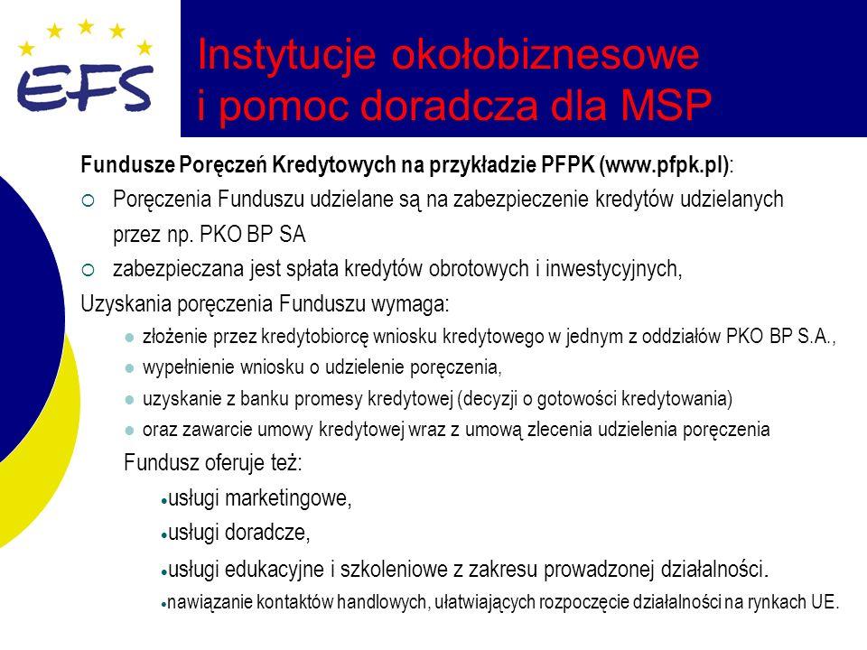 Instytucje okołobiznesowe i pomoc doradcza dla MSP Fundusze Poręczeń Kredytowych na przykładzie PFPK (www.pfpk.pl) : Poręczenia Funduszu udzielane są na zabezpieczenie kredytów udzielanych przez np.