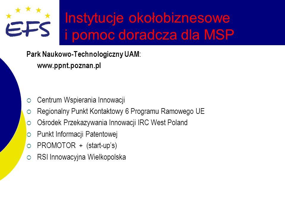 Instytucje okołobiznesowe i pomoc doradcza dla MSP Park Naukowo-Technologiczny UAM : www.ppnt.poznan.pl Centrum Wspierania Innowacji Regionalny Punkt Kontaktowy 6 Programu Ramowego UE Ośrodek Przekazywania Innowacji IRC West Poland Punkt Informacji Patentowej PROMOTOR + (start-ups) RSI Innowacyjna Wielkopolska