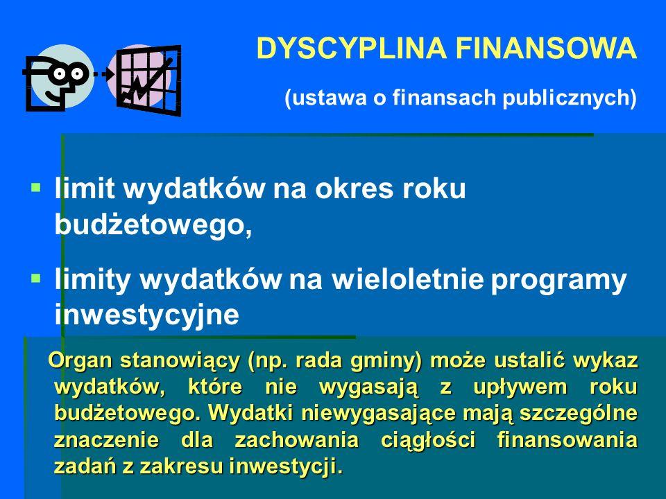 DYSCYPLINA FINANSOWA (ustawa o finansach publicznych) limit wydatków na okres roku budżetowego, limity wydatków na wieloletnie programy inwestycyjne O