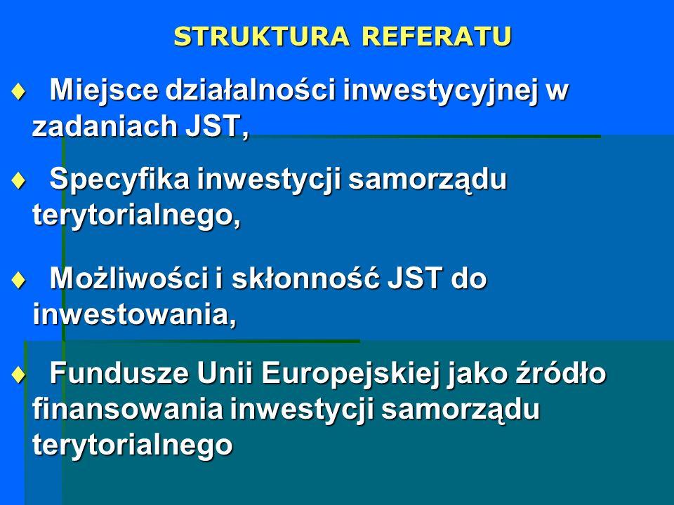 STRUKTURA REFERATU Miejsce działalności inwestycyjnej w zadaniach JST, Miejsce działalności inwestycyjnej w zadaniach JST, Specyfika inwestycji samorz