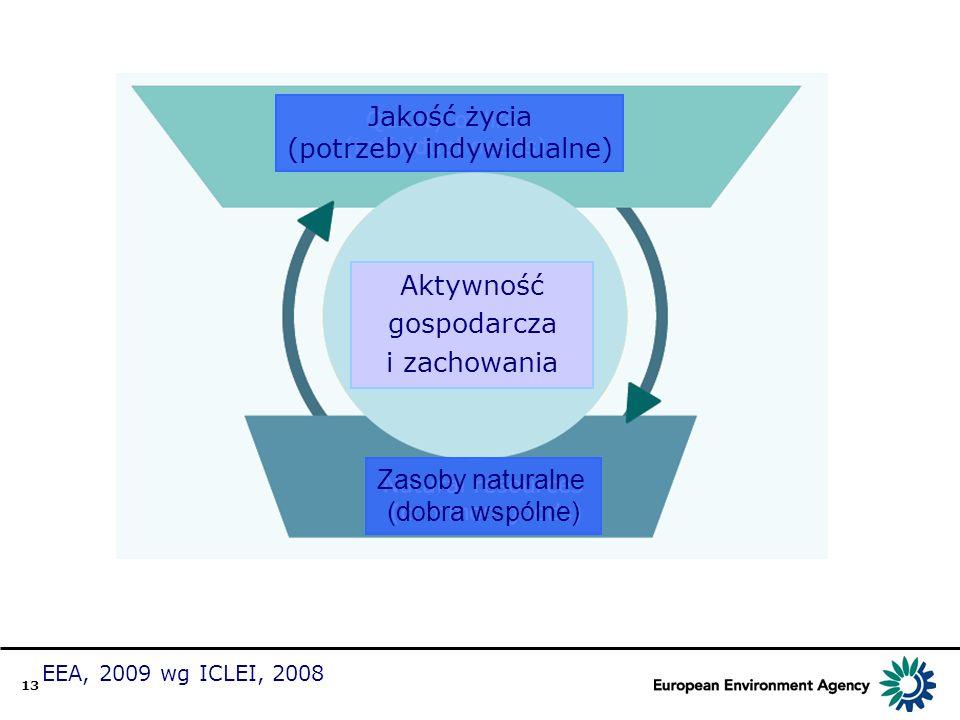 13 Jakość życia (potrzeby indywidualne) Aktywność gospodarcza i zachowania Zasoby naturalne (dobra wspólne) EEA, 2009 wg ICLEI, 2008 ęąńóśćżźł