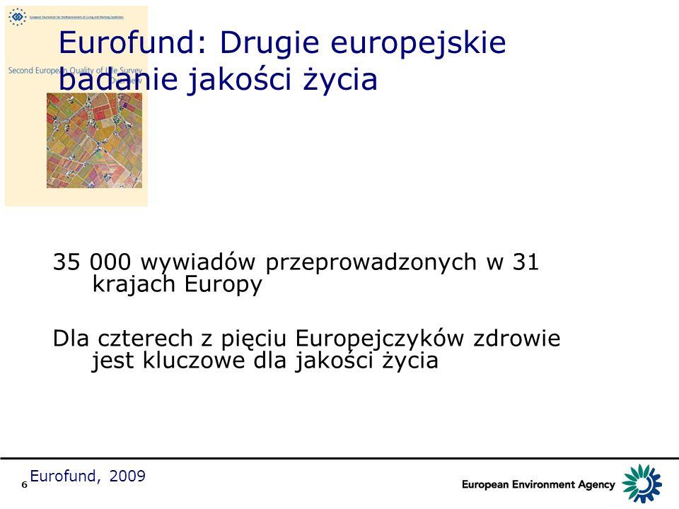 6 Eurofund: Drugie europejskie badanie jakości życia 35 000 wywiadów przeprowadzonych w 31 krajach Europy Dla czterech z pięciu Europejczyków zdrowie
