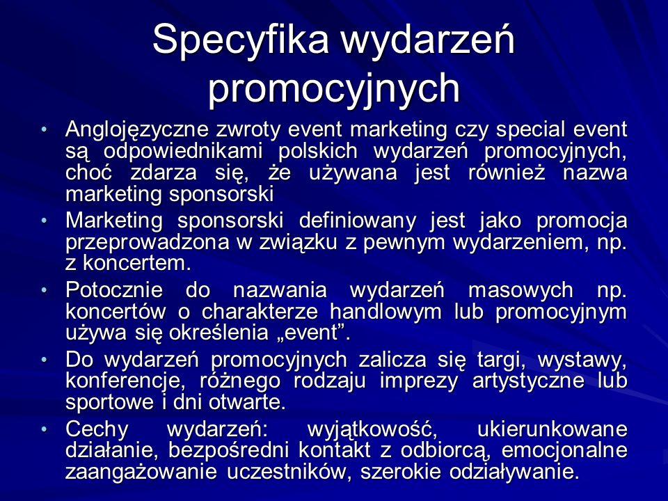 Specyfika wydarzeń promocyjnych Anglojęzyczne zwroty event marketing czy special event są odpowiednikami polskich wydarzeń promocyjnych, choć zdarza s