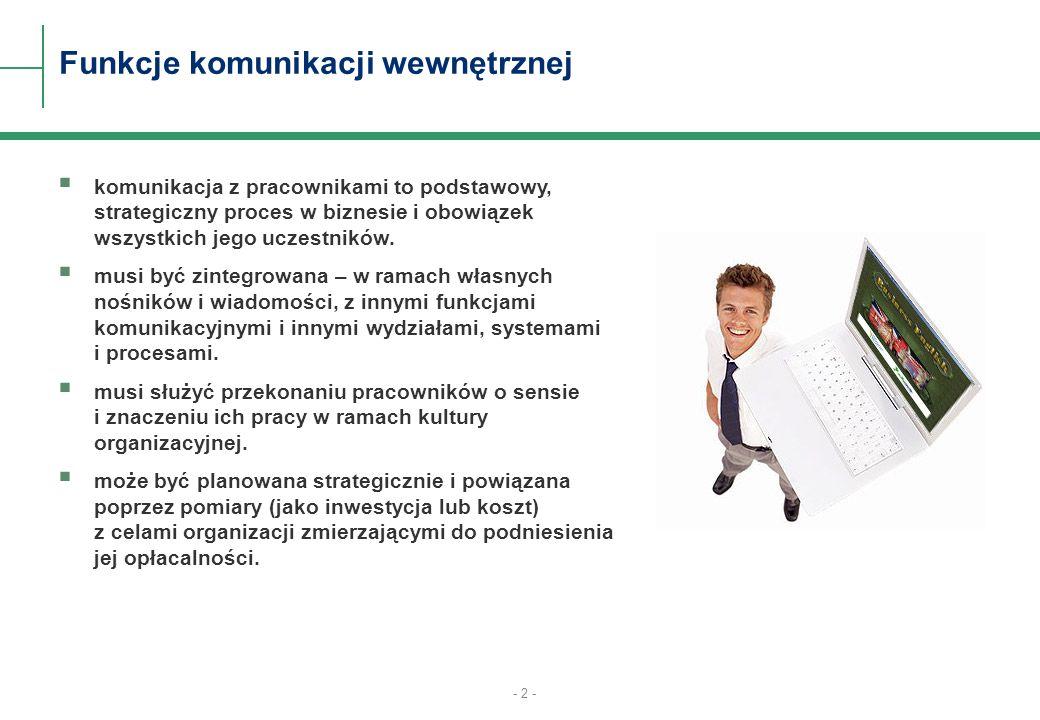 - 2 - Funkcje komunikacji wewnętrznej komunikacja z pracownikami to podstawowy, strategiczny proces w biznesie i obowiązek wszystkich jego uczestników